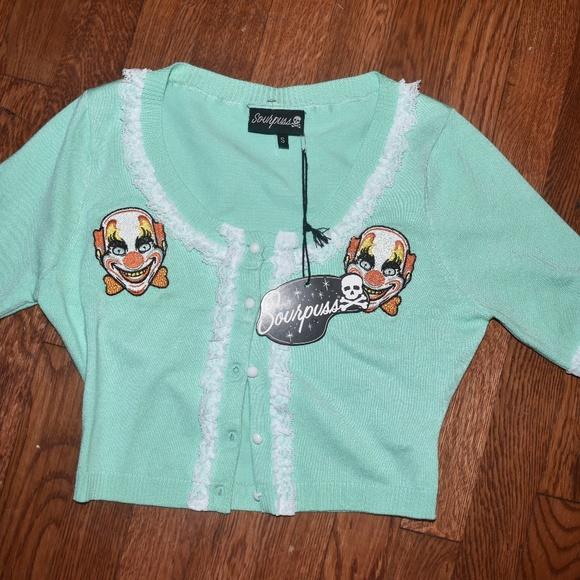 85e741f6526f Sourpuss Sweaters | Mint And Lace Creepy Clown Sweater | Poshmark